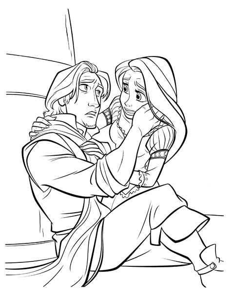 coloring page flynn rider and rapunzel