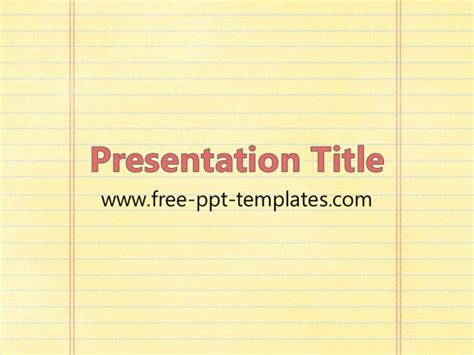 Notebook Paper Ppt Template Notebook Template Powerpoint