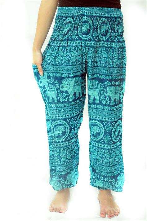 mens yoga pants pattern free blue elephant india pattern harem from elephantpant on etsy