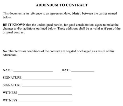 Contract Addendum Template Happyeasterfrom Com Contract Addendum Template