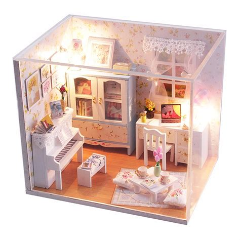 doll houses wooden hoomeda diy wood dollhouse miniature with led furniture
