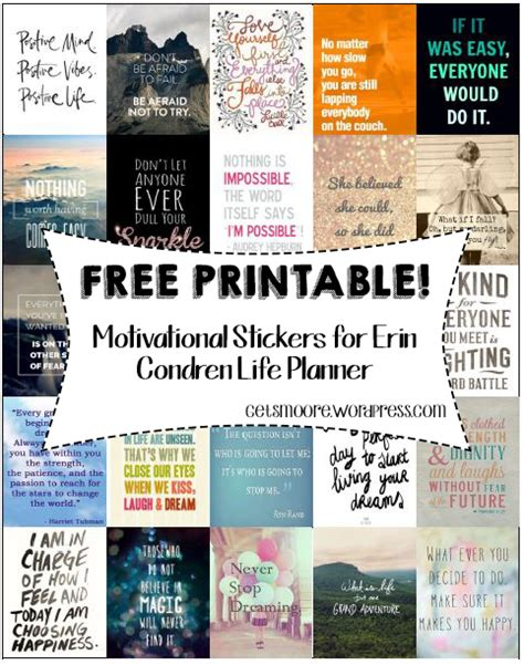 printable quotes planner free printable inspirational stickers for erin condren