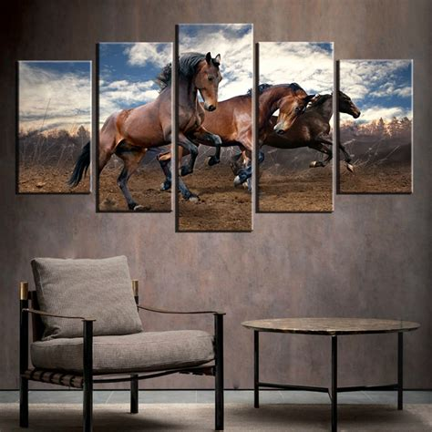 home decor horses canvas print wall art painting home decor running wild