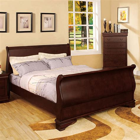Cherry Wood Sleigh Bed Shop Furniture Of America Laurelle Cherry Sleigh Bed At Lowes