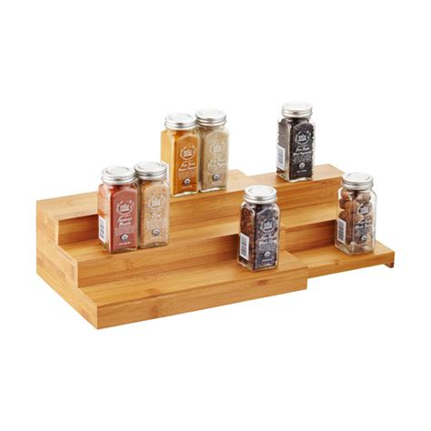 3 tier bamboo expanding shelf the container store