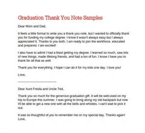 College Thank You Letter Sle Thank You Letter To Parents On Graduation Day 28 Images Wedding Thank You Notes For