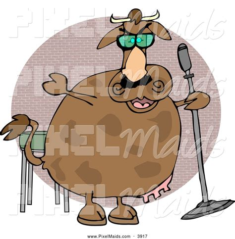 clip comedy clipart of a cheerful cow doing stand up comedy by djart