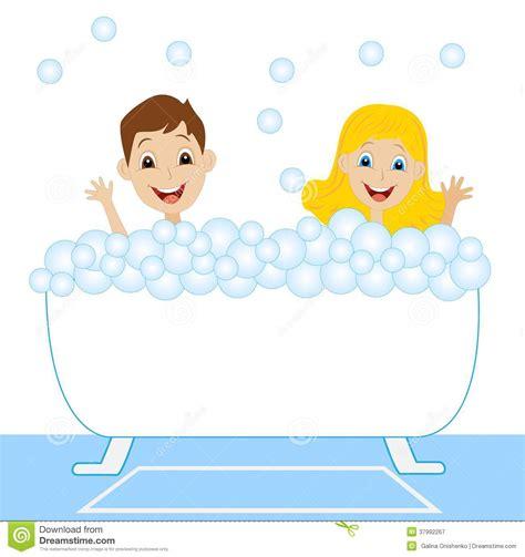 girl with boy in bathroom a little girl and boy bath in bath with foam royalty free
