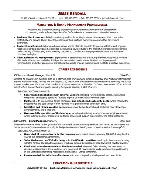 Brand Manager Resume Exles senior logistic management resume brand manager resume exle resume resume