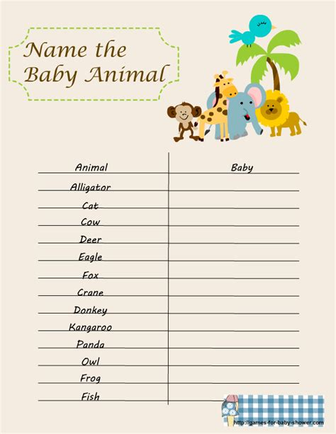Name The Baby Animal Baby Shower baby shower animal to baby match up