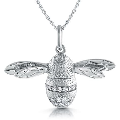 bumble bee necklace sterling silver cubic zirconia