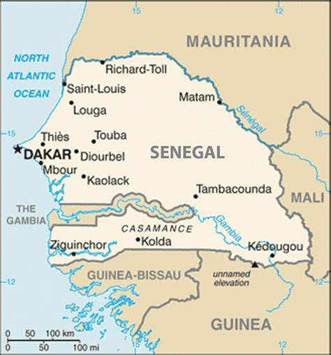 where is senegal on the world map west africa