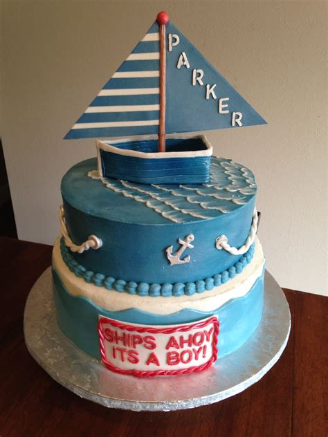 nautical terms bottom of boat nautical baby shower cake vanilla top tier with