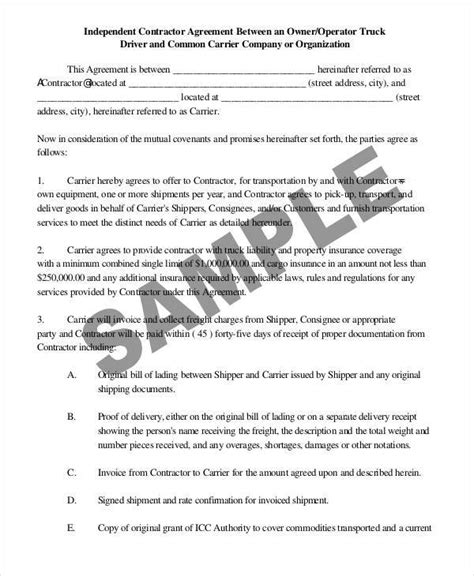 transportation agreement template 28 images 44