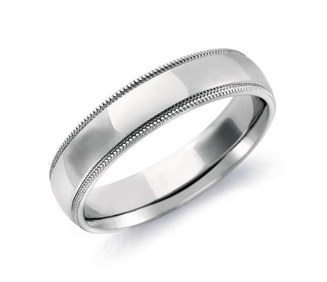 comfort fit wedding band milgrain comfort fit wedding ring in 14k white gold 5mm