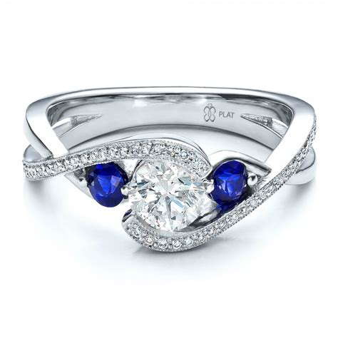 custom blue sapphire and engagement ring