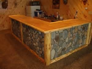 Vanity Saloon Rustic Log Framed Stone Fraced Bar