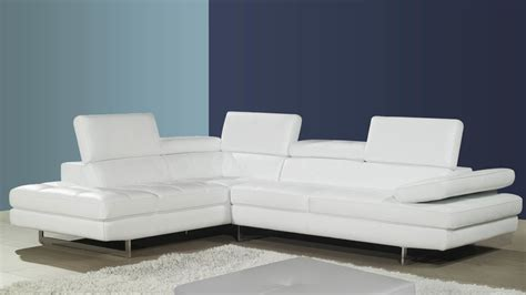 White Leather Corner Sofas Modern Leather Corner Sofa Adjustable Headrests And Armrest Chrome Legs