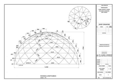 desain konstruksi kubah masjid gambar rangka struktur truss dome kubah masjid wonosobo