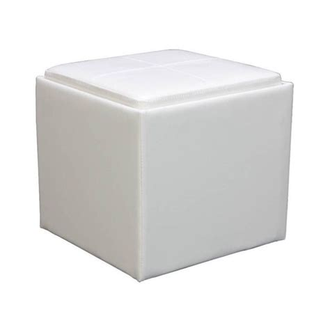 Trent Home Ladd Faux Leather Storage Cube Ottoman In White Leather Storage Cube Ottoman