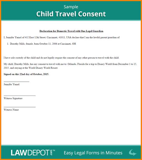 8 letter of consent for travel of a minor child card