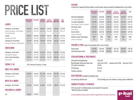 List Of Hairstyle Prices | hair salon price list designs joy studio design gallery