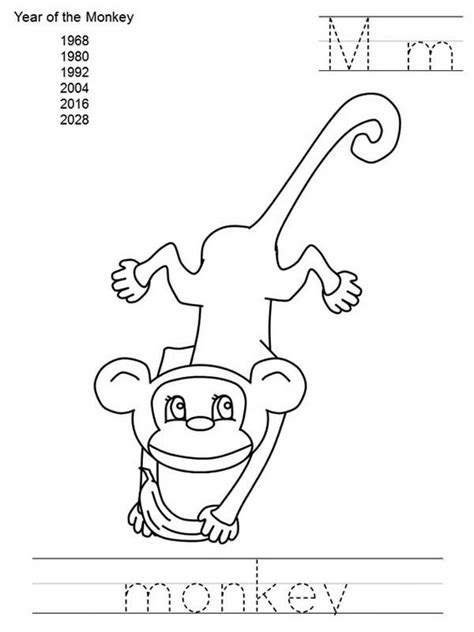 writing   monkey coloring  kids coloring page