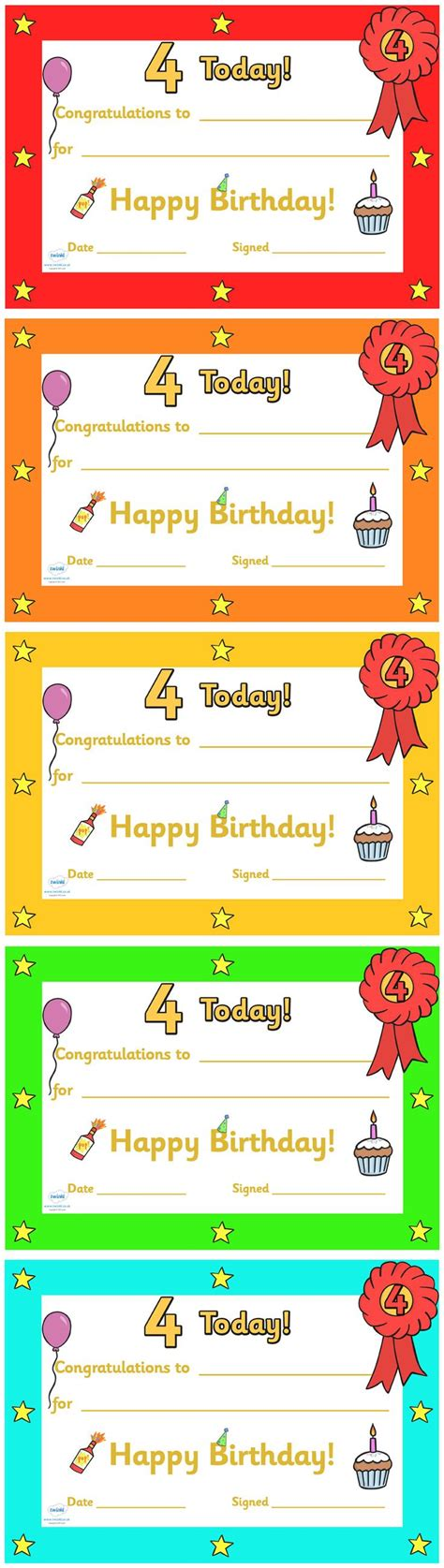 classroom certificates templates twinkl resources gt gt editable birthday certificates age 4