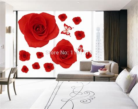 romantic red rose flowers wall decals living room bedroom aliexpress com buy free shiping diy wall decorative