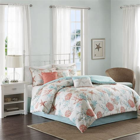 seashell bed coral teal seashells comforter set bed in a bag