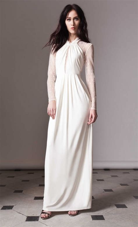 Alice By Temperley Long Draped Amber Dress In Beige Ivory