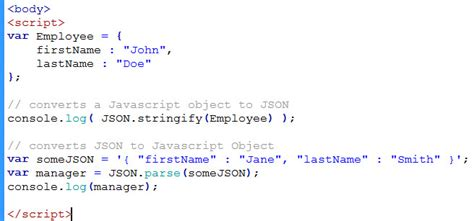 tutorial javascript json converting between json and javascript object learn web