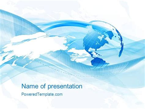 Blue Waves Globe Powerpoint Template Authorstream Globe Powerpoint Template