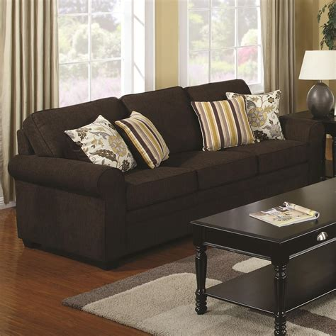 Brown Fabric Sofa Coaster Rosalie 504241 Brown Fabric Sofa A Sofa
