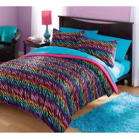 zone mink rainbow zebra bedding comforter set walmartcom
