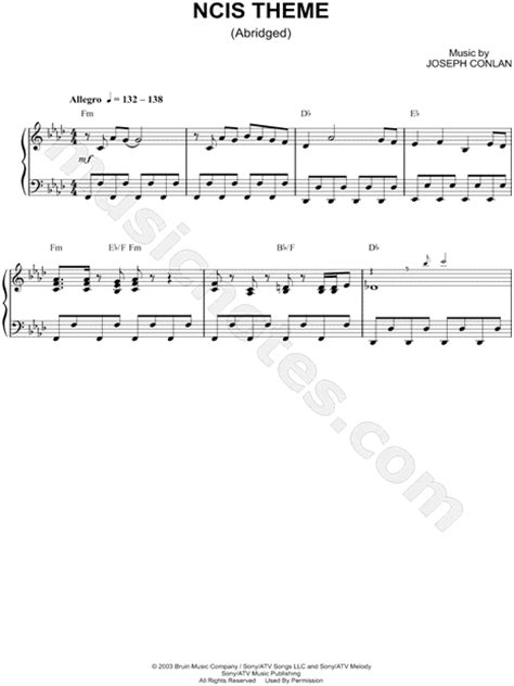 theme song ncis quot ncis theme abridged quot from ncis sheet music piano