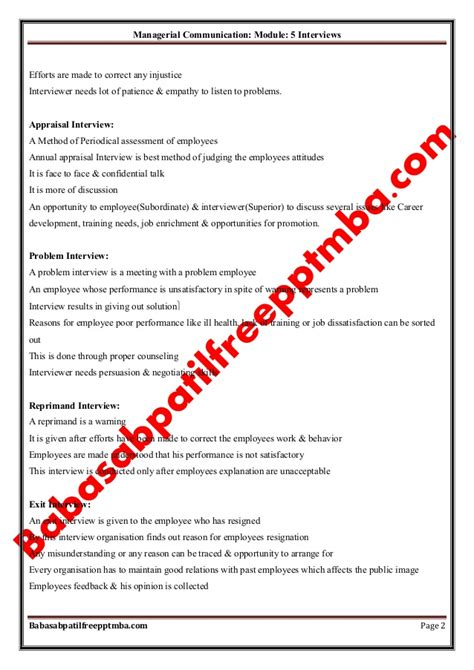 Managerial Skill Development Mba Notes by Notes Managerial Communication Mod 5 Interviews Mba 1st