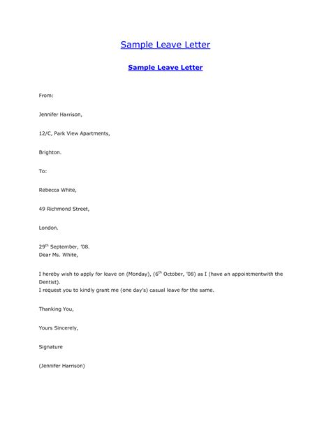 5 letter requesting leave resumes great