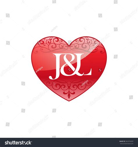 J L by Jl Initial Letter Logo Ornament Stock Vector