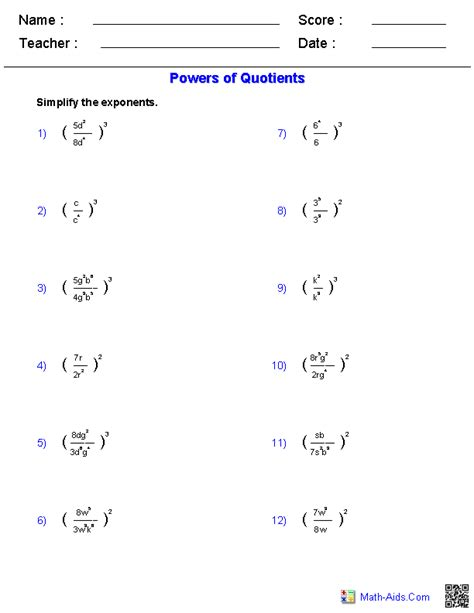 printable math worksheets power rule exponent rules worksheet worksheets releaseboard free