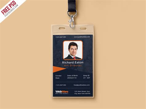 Free Psd Vertical Company Identity Card Template Psd By Psd Freebies Dribbble Id Card Template Photoshop