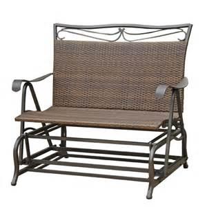 international caravan valencia iron wicker resin patio glider chair reviews wayfair