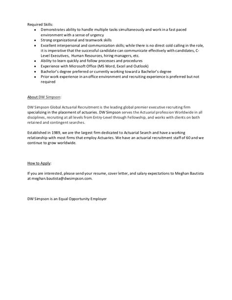 entry level assistant recruiter or intern description
