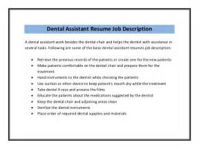 Description For Dentist by Dental Assistant Resume Sle Pdf