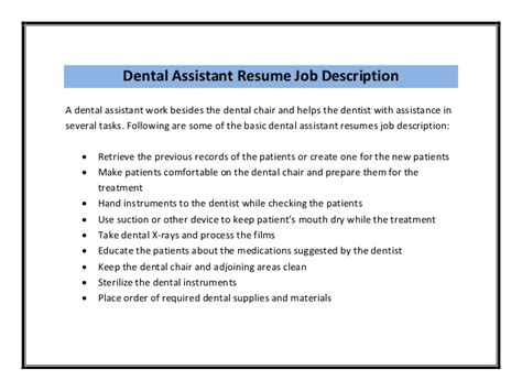 dental assistant resume cover letter dental assistant and