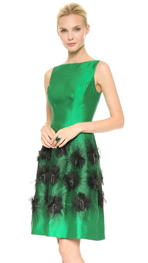 Emerald Umbrela Dress Hq cocktail dress with embroidered skirt emeraldivory in green lyst