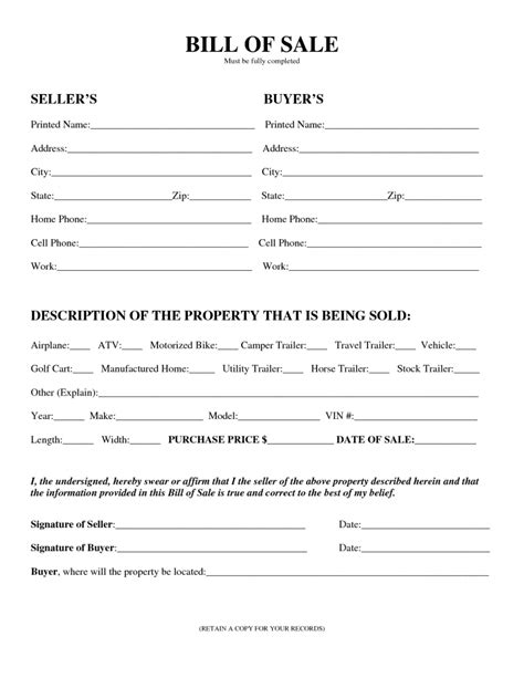 Agreement Of Sale Template For A Vehicle free printable camper bill of sale form free form generic
