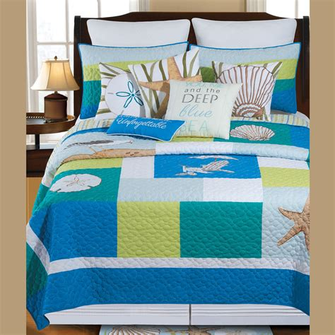 coastal bedding quilts blue oasis coastal patchwork quilt bedding