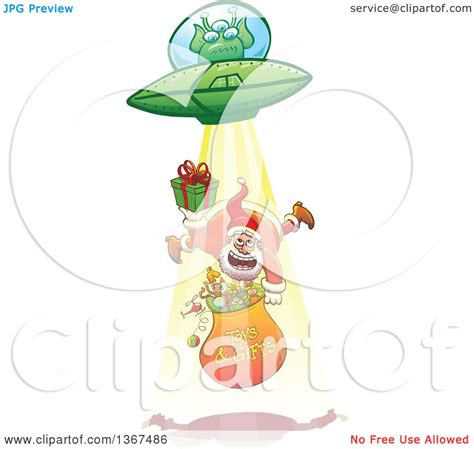 Lop Angpao Natal Santa Claus 2028 clipart of a santa claus holding a gift and sack being abducted up by a ufo