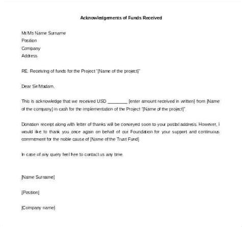 letter receipt payment acknowledgement letter